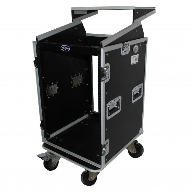 16U Rack x 10U Top Mixer DJ Combo Flight Case w/Laptop Shelf