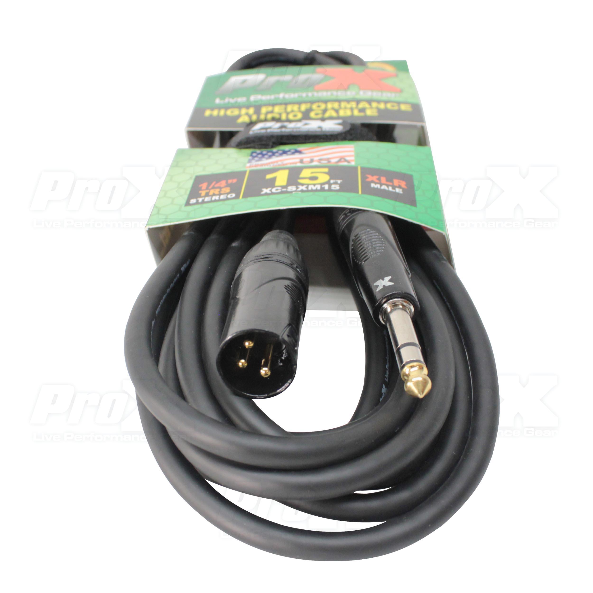 15 Ft Balanced 1 4 Trs To Xlr M Prox Live Performance Gear Usb Wiring Xc Sxm15